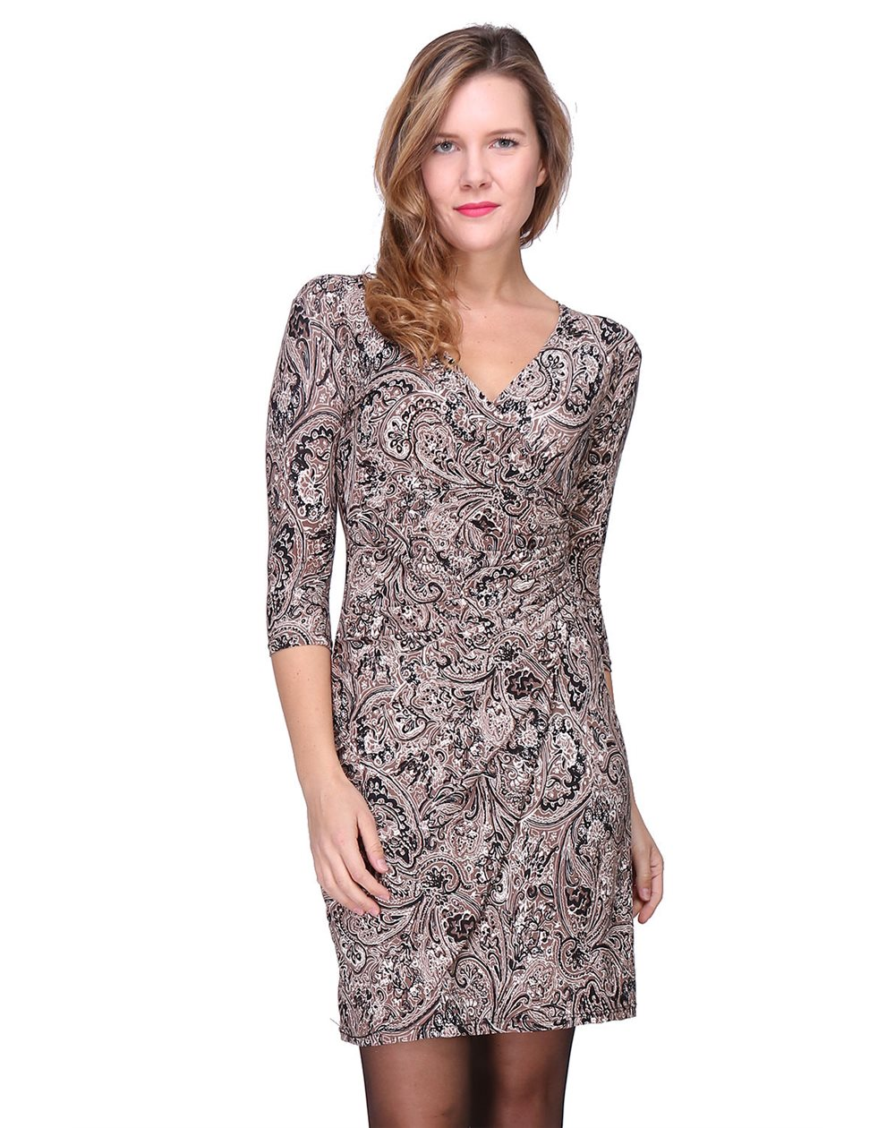 Pour Femme Cache Coeur Made Myriam Robe Col Longues Revdelle V France In Manches q34Aj5RL