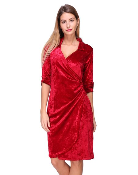 Revdelle - Robe cache coeur uni en velour col V Made in France manches longues pour Femme DAISY
