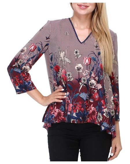 Revdelle - Blouse col V Made in France manches 3/4 Femme