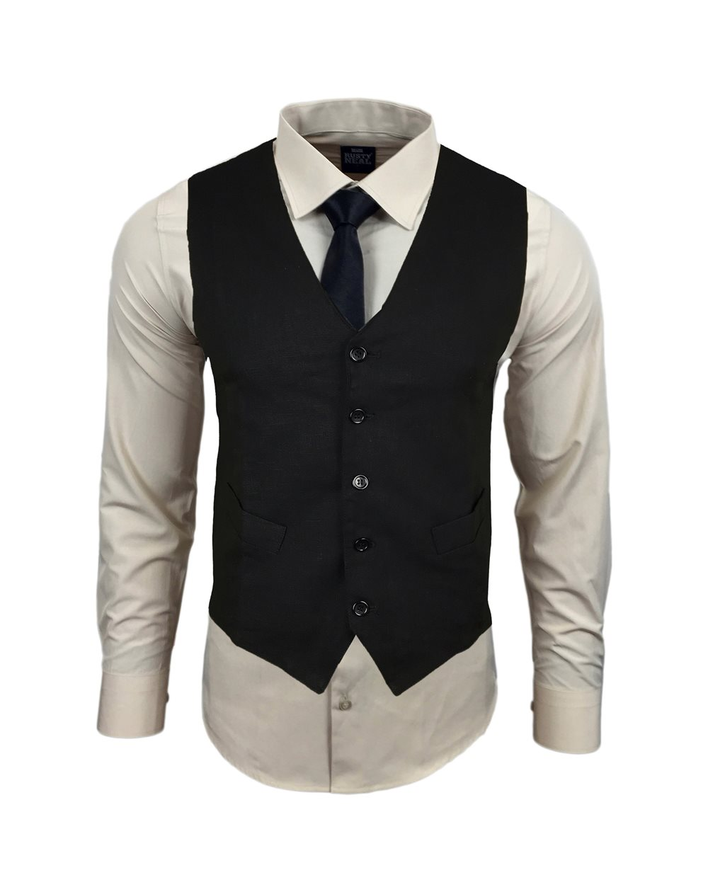Subliminal Mode - Gilet + Chemise + Cravate homme bicolore uni manches longues coupe slim business RN33