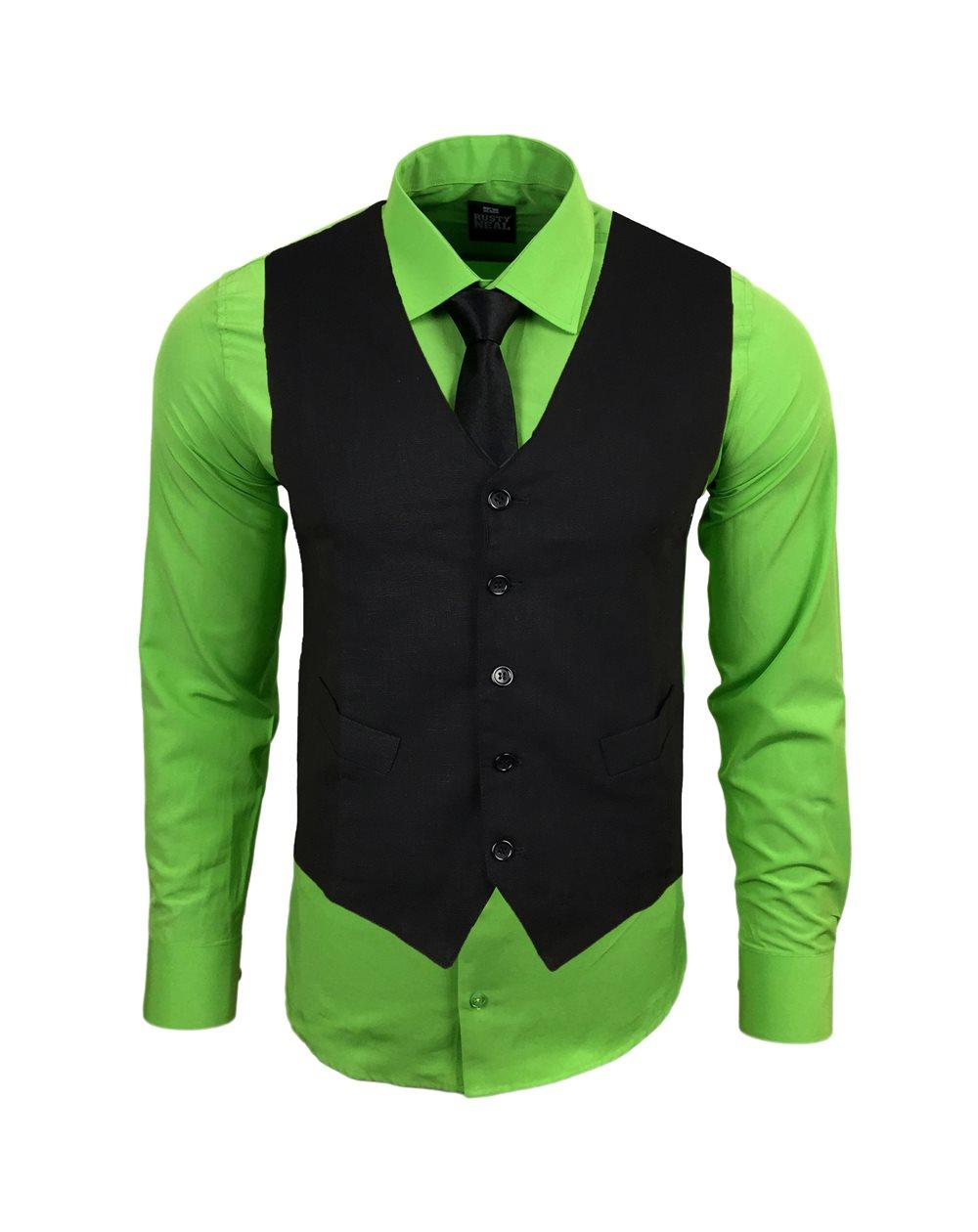 Subliminal Mode - Gilet + Chemise + Cravate homme bicolore uni manches longues coupe slim business RN33