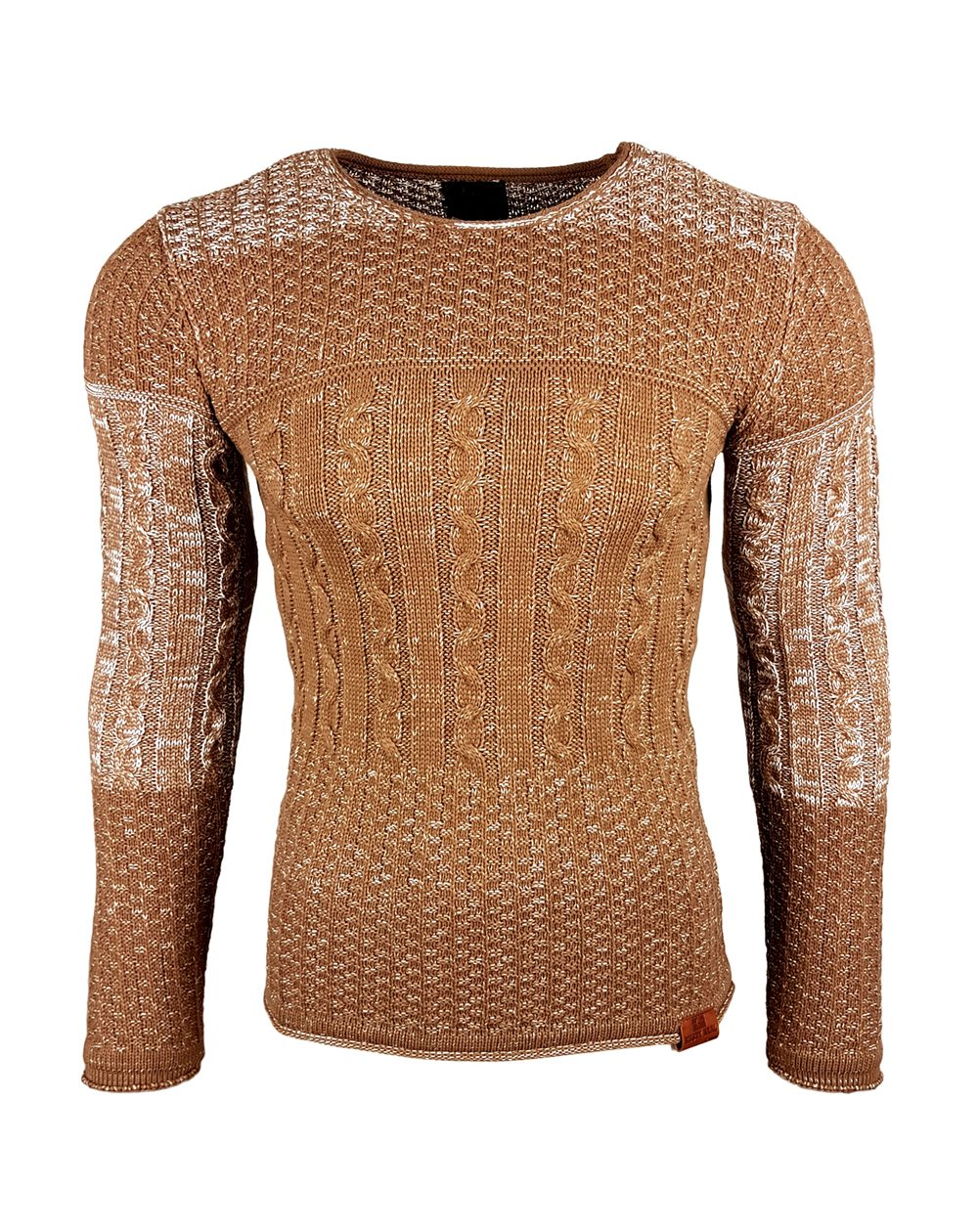 Subliminal Mode - Pull homme col rond - Tricot grosse maille - Col a ras du coup