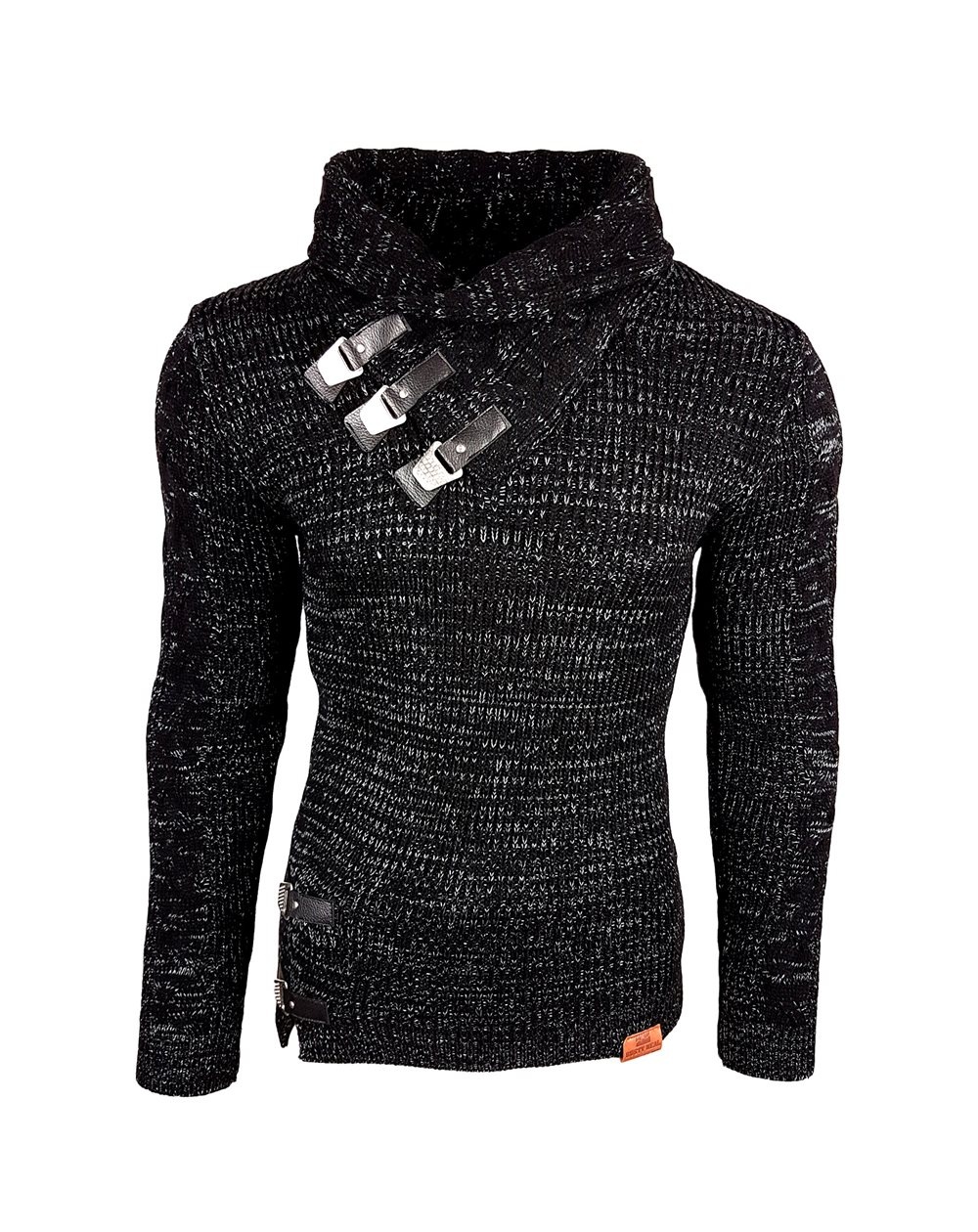 Subliminal Mode - Pull homme col chale avec bouton pression - Tricot grosse maille - Col chale