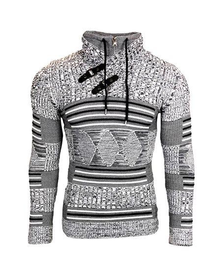 Subliminal Mode - Pull homme col montant avec zip avec lacet de serrage col chale