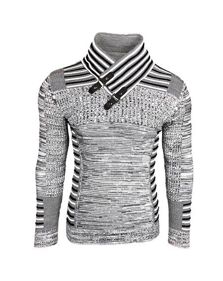 Subliminal Mode - Pull homme col montant chiné col chale