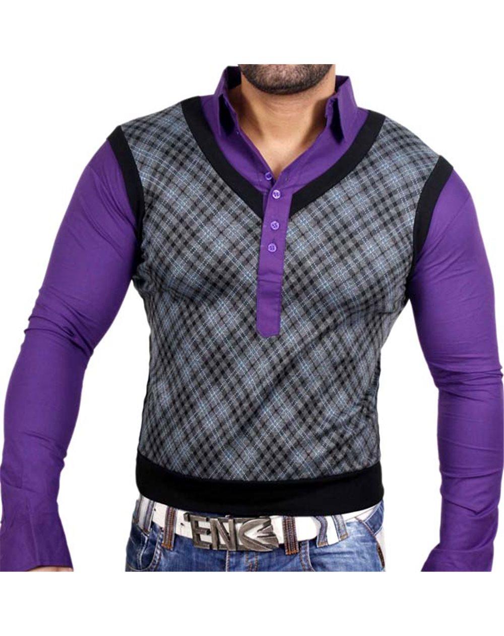 Subliminal Mode - Pull homme leger col V avec chemise cousu 2 en 1 TZ104