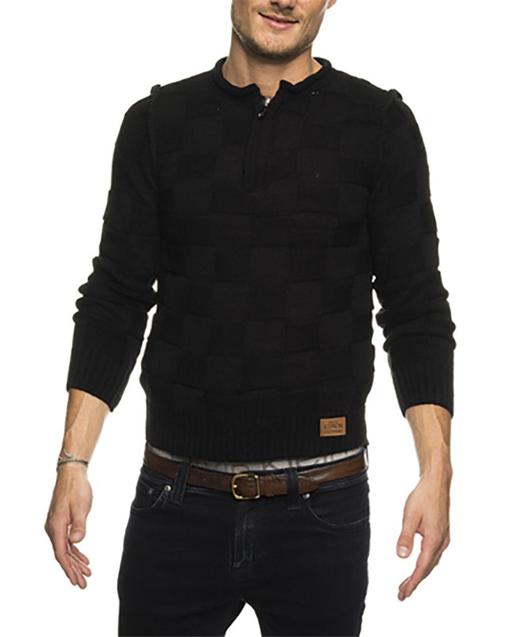 Subliminal Mode - Pull homme col arrondi avec bouton grosse maille KD6060