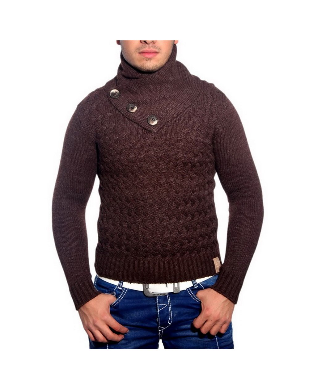 Subliminal Homme Col Avec Montant Pull Mode Bouton Rn3158 Rouler CBrxoWde