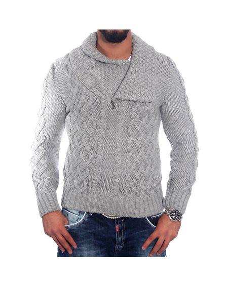 Subliminal Mode - Pull homme col montant avec zip col rouler RN3201