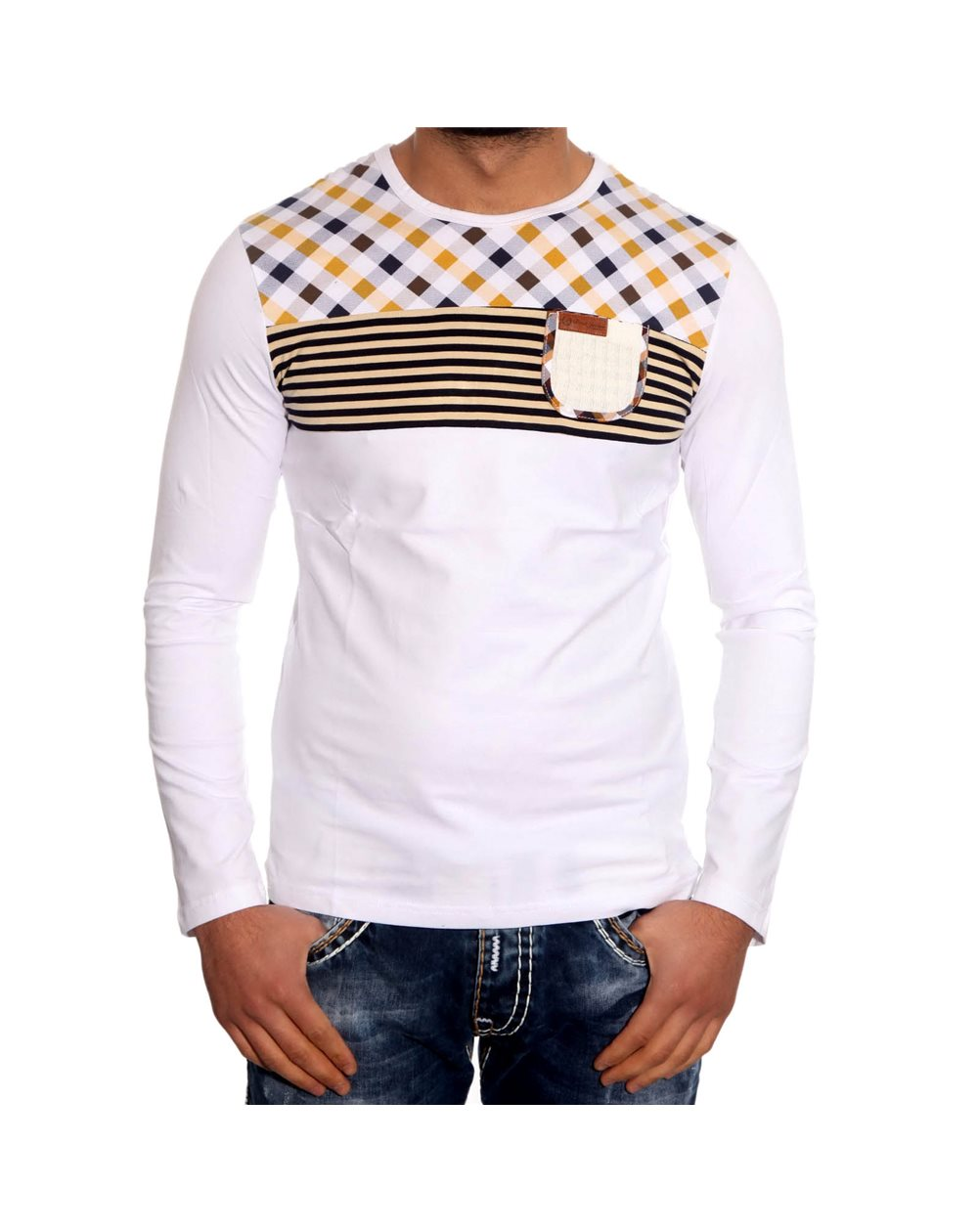 Subliminal Mode - Tee shirt homme manches longues col arrondi arrondi pull leger SB8110