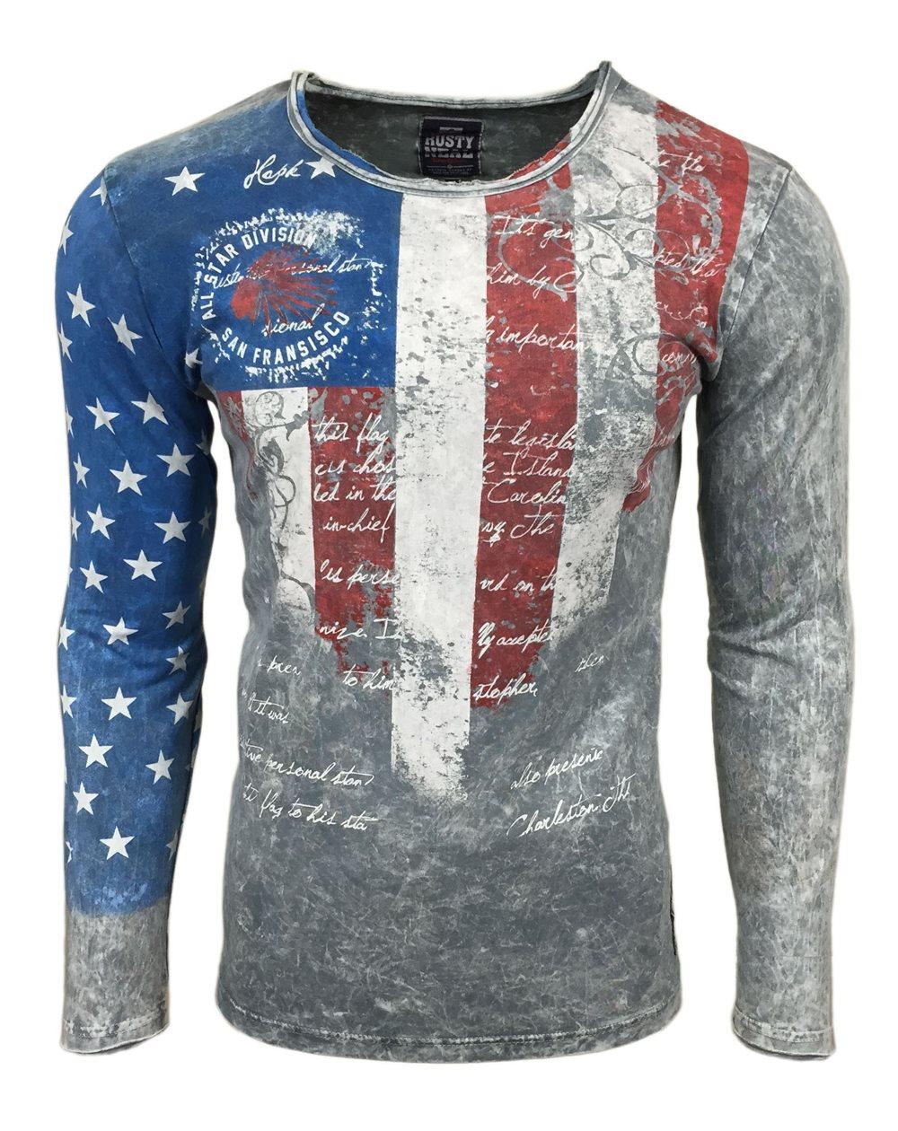 Subliminal Mode - Tee shirt delaver homme manches longues col arrondi drapeaux état unis SB10124