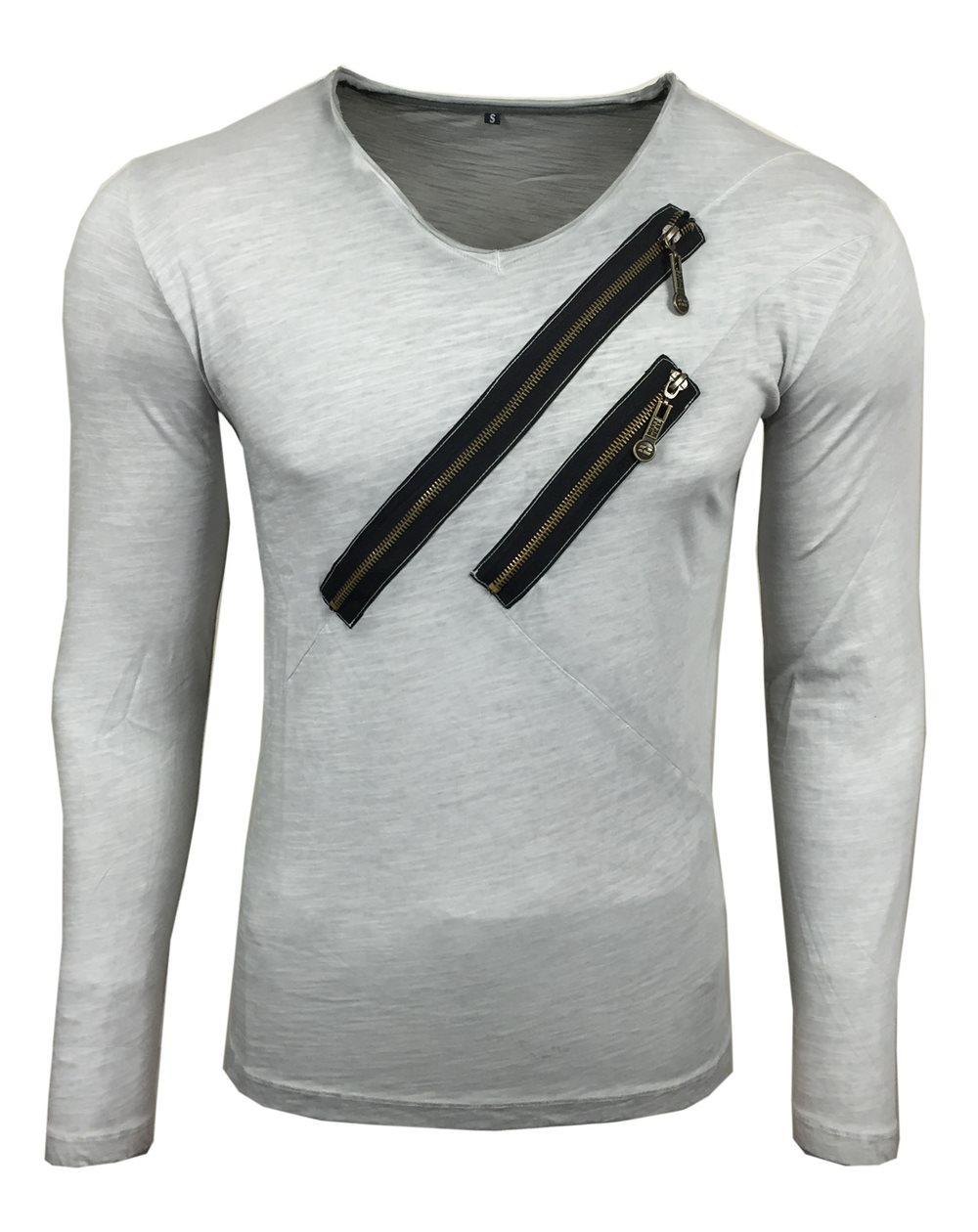 Subliminal Mode - Tee shirt delaver homme manches longues col V avec fermeture décor SB10122