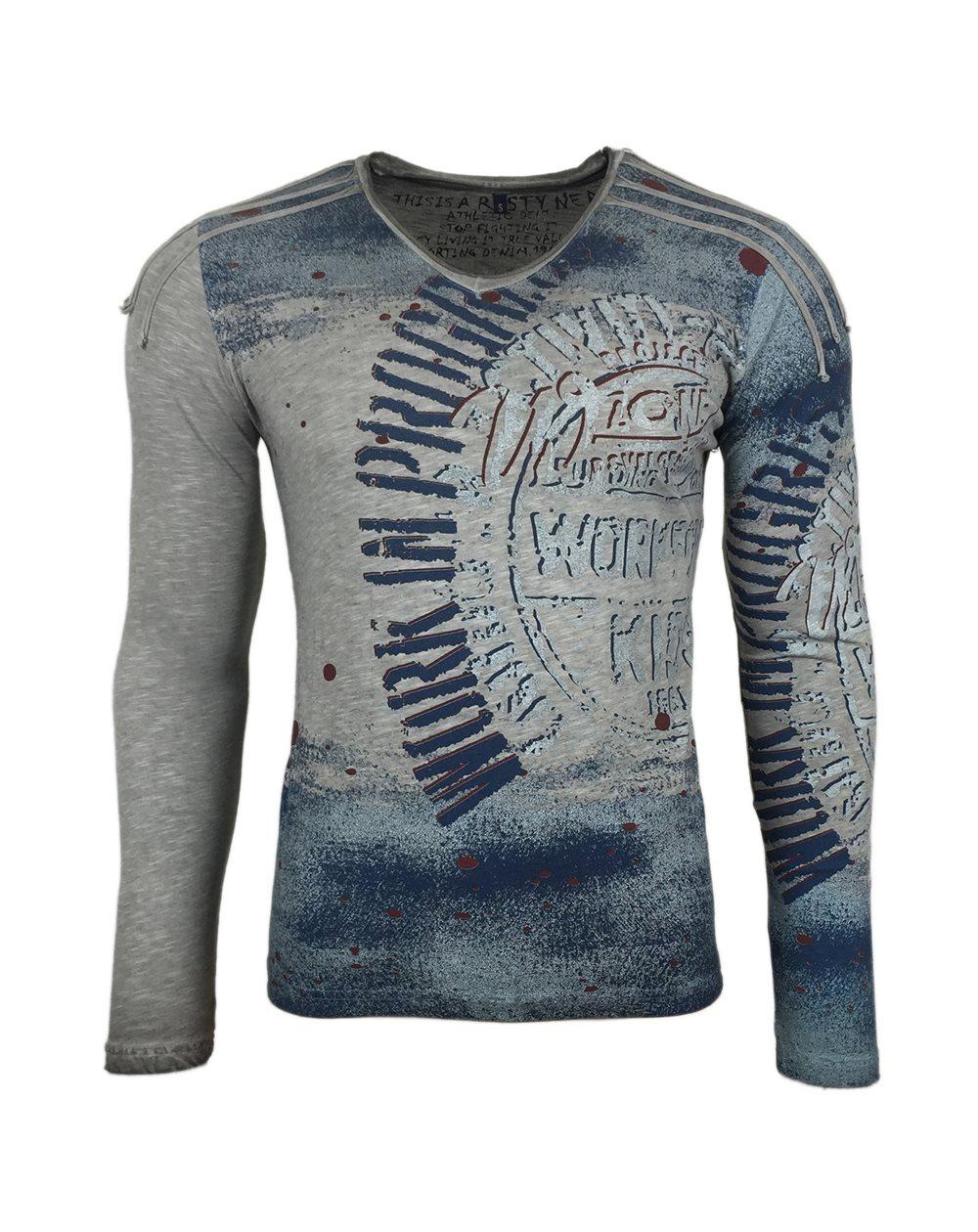 Subliminal Mode - Tee shirt delaver homme manches longues col V SB10109