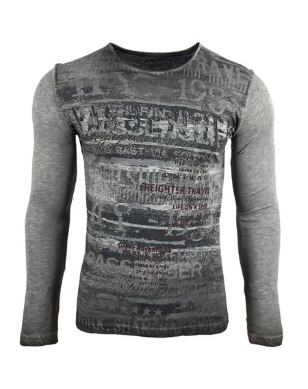 Subliminal Mode - Tee shirt delaver homme manches longues col arrondi SB10110