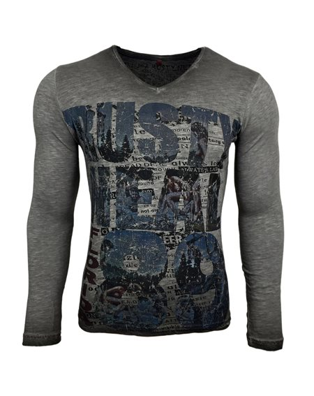Subliminal Mode - Tee shirt delaver homme manches longues col V SB10113