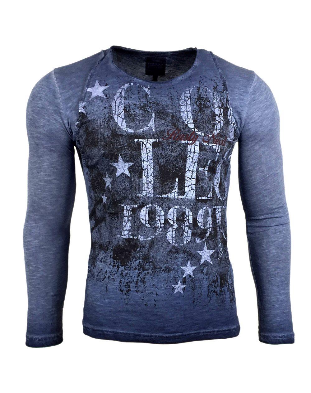 Subliminal Mode - Tee shirt delaver homme manches longues col arrondi SB10108