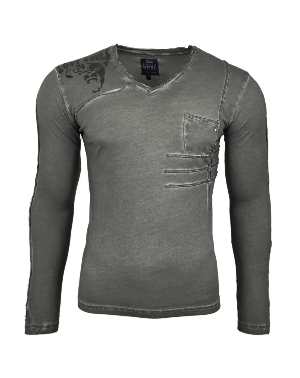 Subliminal Mode - Tee shirt delaver homme manches longues col V SB10104