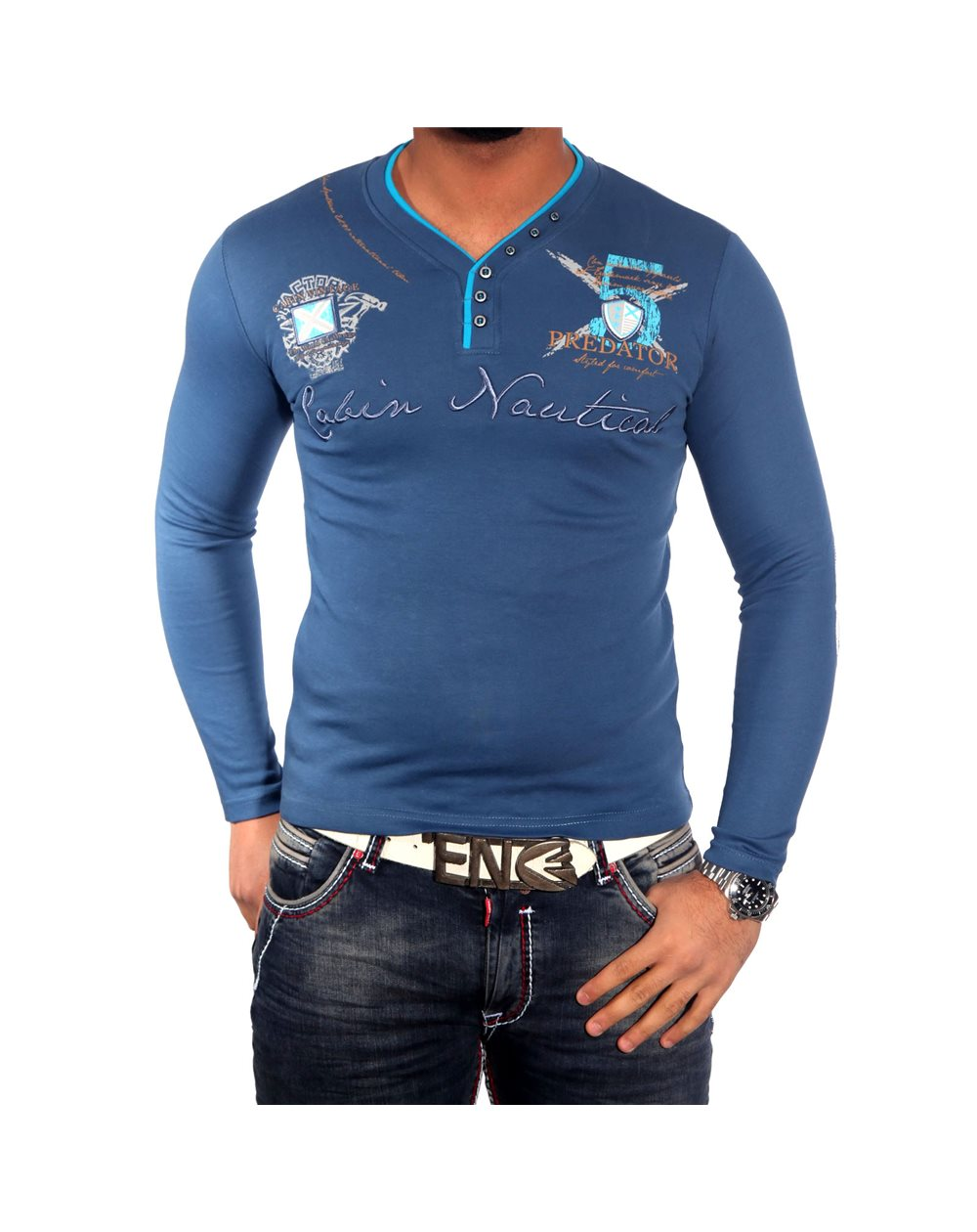 Subliminal Mode - Tee shirt homme manches longues col arrondi Angleterre Pull SBC137