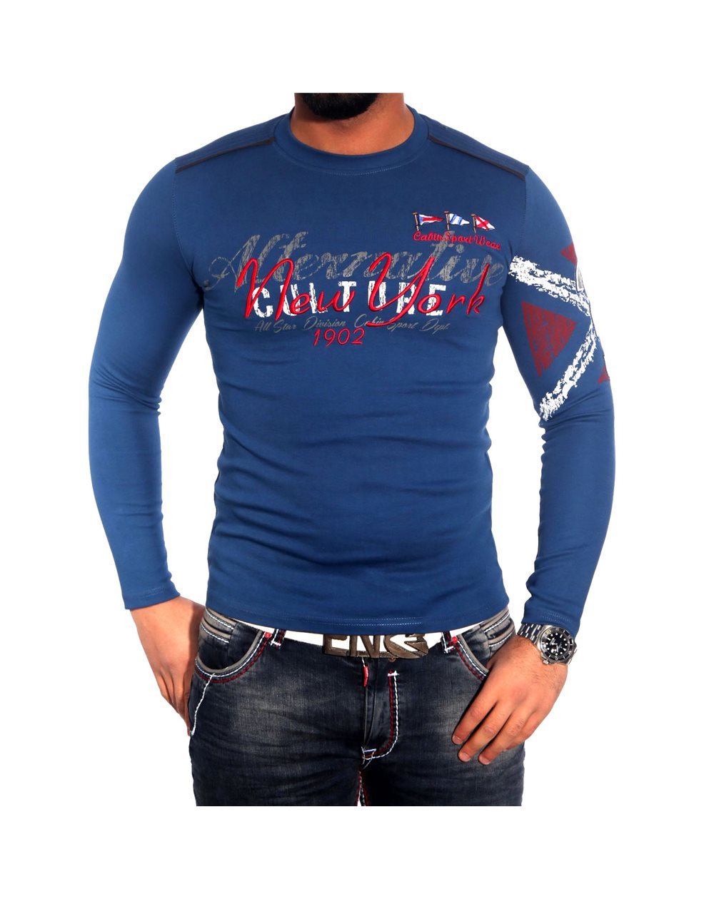 Subliminal Mode - Tee shirt homme manches longues col arrondi pull leger SBC150