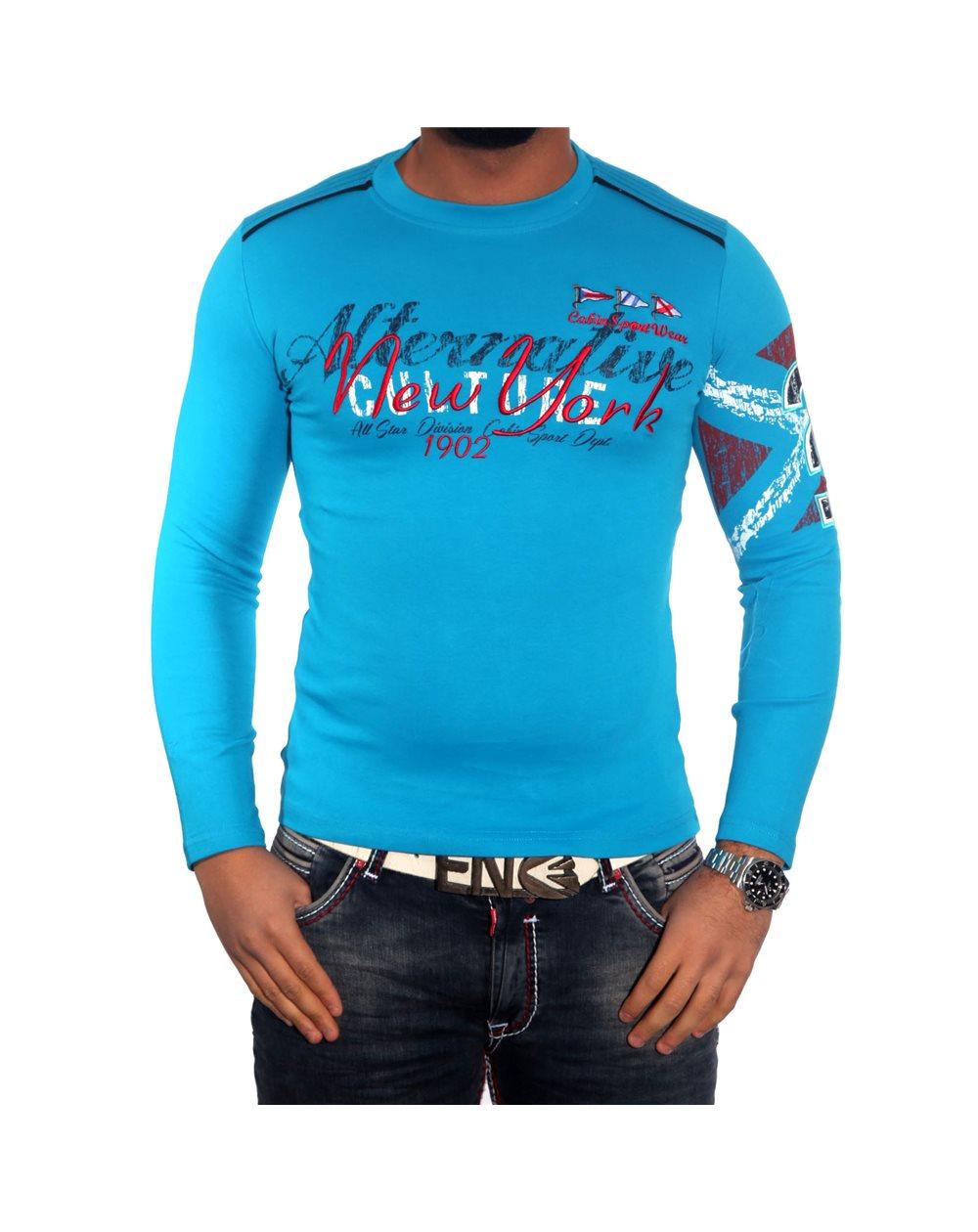 Subliminal Mode - Tee shirt homme manches longues col arrondi pull leger SBC150