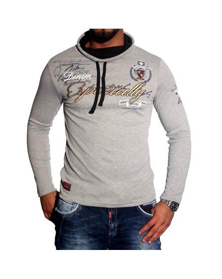Subliminal Mode - Tee shirt homme manches longues col chale avec cordon de serrage pull leger SBC160