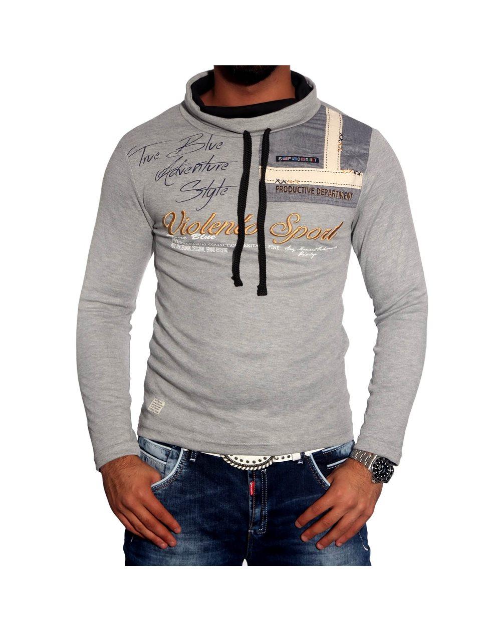 Subliminal Mode - Tee shirt homme manches longues col chale avec cordon de serrage pull leger SBV0693