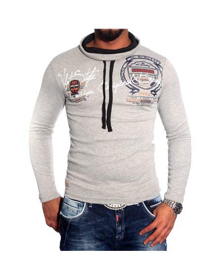 Subliminal Mode - Tee shirt homme manches longues col chale avec cordon de serrage pull leger SBV0696