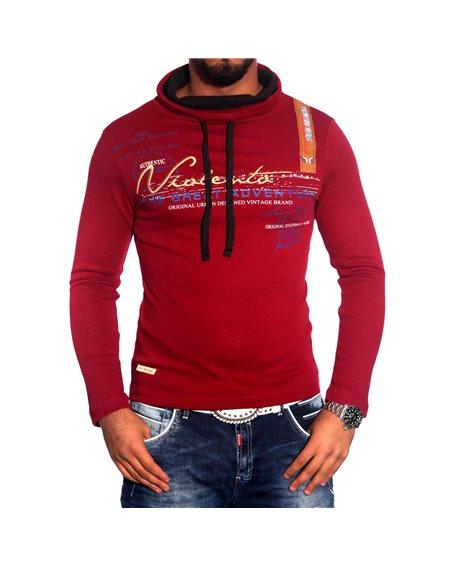 Subliminal Mode - Tee shirt homme manches longues col chale avec cordon de serrage pull leger SBV0695