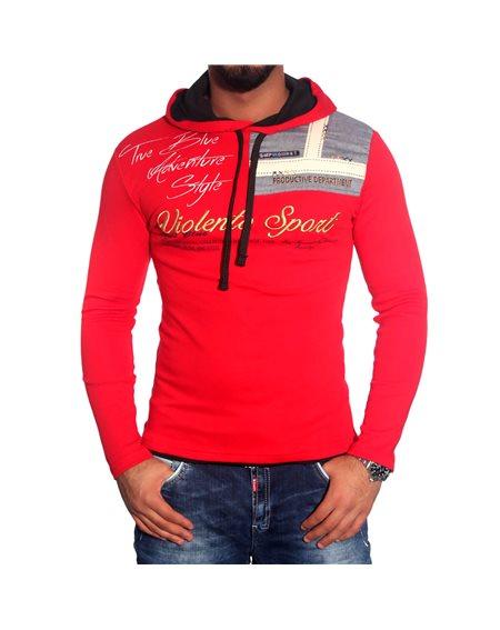 Subliminal Mode - Tee shirt homme manches longues col chale avec cordon de serrage pull leger SBV0708