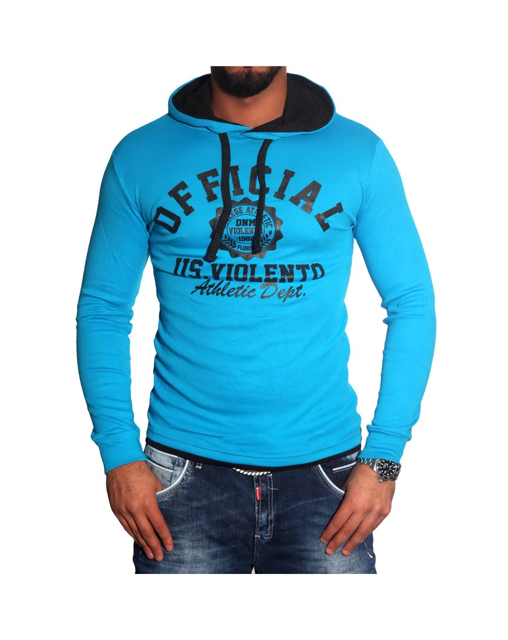 Subliminal Mode - Tee shirt homme manches longues col à cacpuche pull leger SBV0727