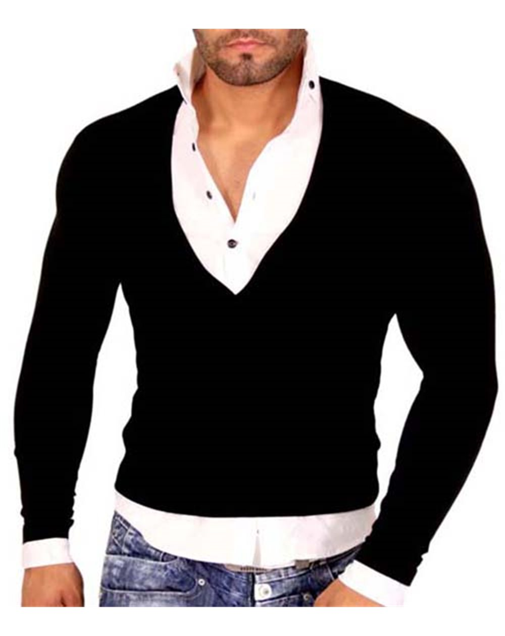 Subliminal Mode - Tee shirt chemise homme 2 en 1 manches longues col V SB724