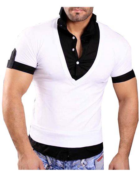 Subliminal Mode - Tee shirt homme col V uni 2 en 1 Noir et blanc SB903