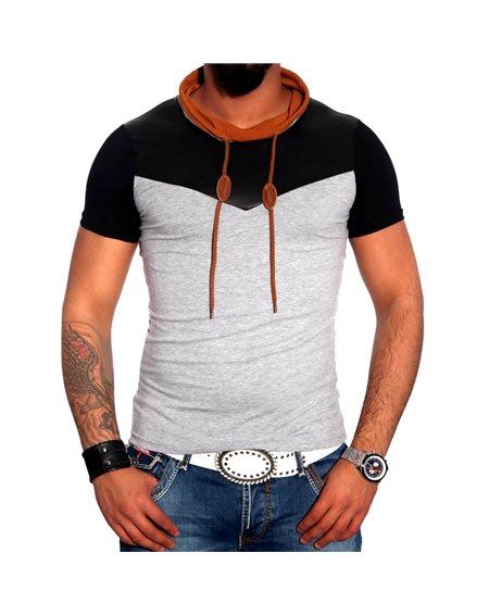 Subliminal Mode - Tee shirt homme col chale avec cordon de serrage uni SB6698