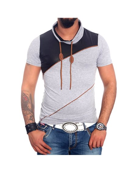 Subliminal Mode - Tee shirt homme col chale avec cordon de serrage uni SB6699
