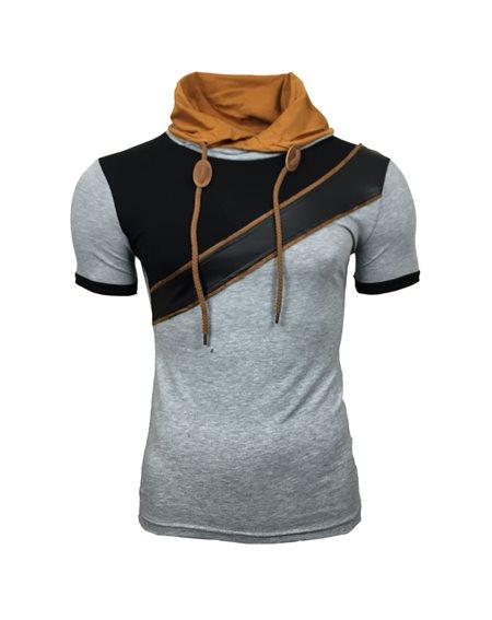 Subliminal Mode - Tee shirt homme col chale avec cordon de serrage uni SB6700