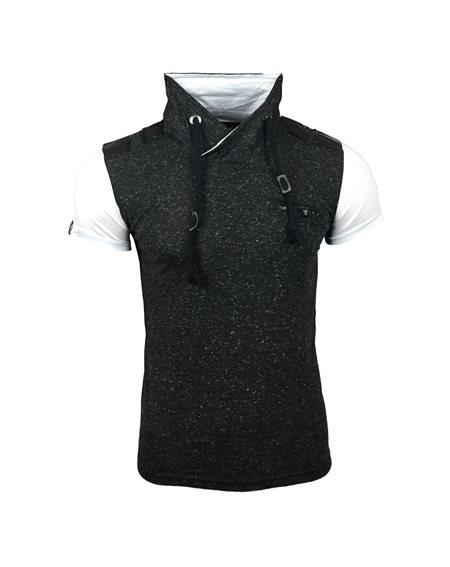 Subliminal Mode - Tee shirt homme col chale avec cordon de serrage uni SB6717