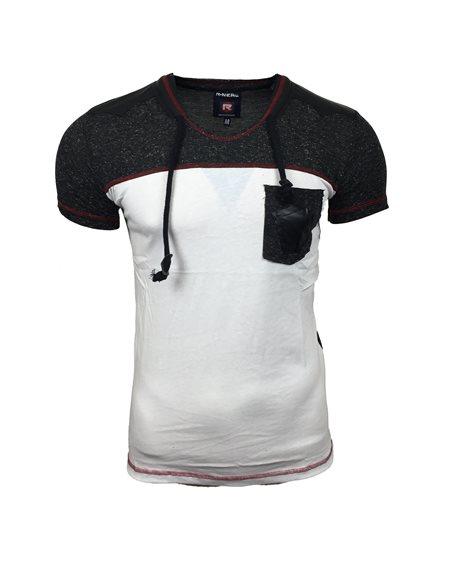 Subliminal Mode - Tee shirt homme col v avec cordon de serrage uni SB6715