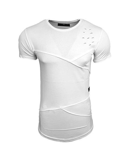 Subliminal Mode - Tee shirt homme uni asymetrique col arrondi avec trou basic SB15105
