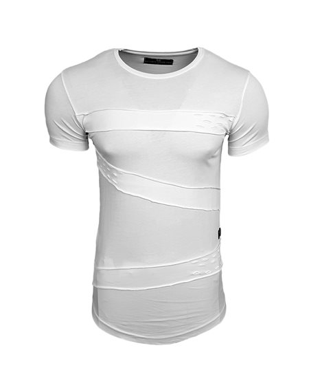 Subliminal Mode - Tee shirt homme uni asymetrique col arrondi avec trou basic SB15114
