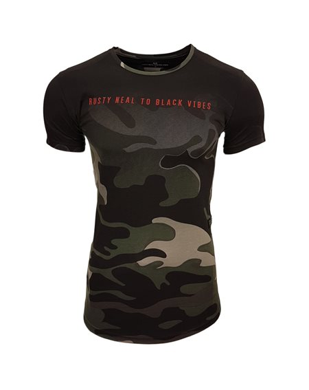 Subliminal Mode - Tee shirt homme camouflage col arrondi asymetrique Army SB15115