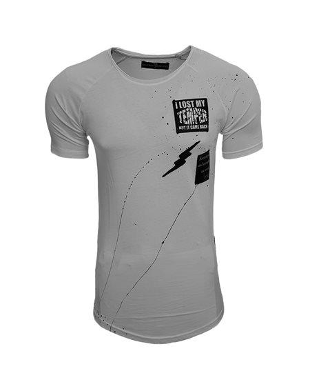 Subliminal Mode - Tee shirt homme asymetrique col arrondi avec trou SB15114