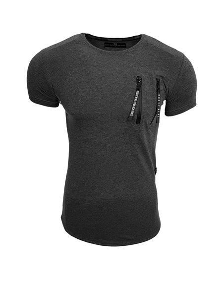 Subliminal Mode - Tee shirt homme uni col arrondi avec fermeture SB15083