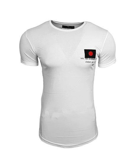 Subliminal Mode - Tee shirt asymetrique homme drapeau Japon col arrondi basic SB15110