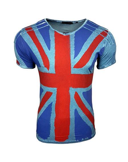 Subliminal Mode - Tee shirt homme delaver drapeau Angleterre col V SB15044