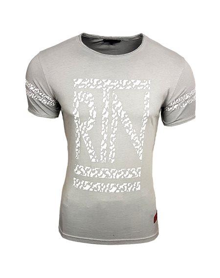 Subliminal Mode - Tee shirt homme delaver col boutonner arrondi SB15045