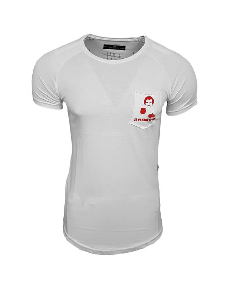 Subliminal Mode - Tee shirt homme uni asymetrique col arrondi el patron basic SB15117