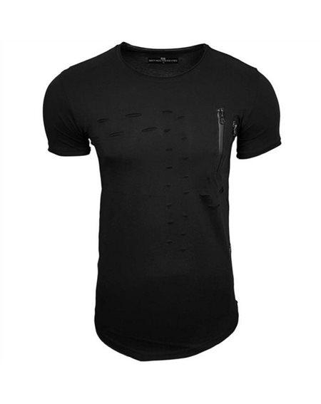 Subliminal Mode - Tee shirt homme uni asymetrique col arrondi dechirer basic SB15101