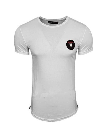 Subliminal Mode - Tee shirt homme asymetrique col arrondi dechirer avec zip basic SB15101