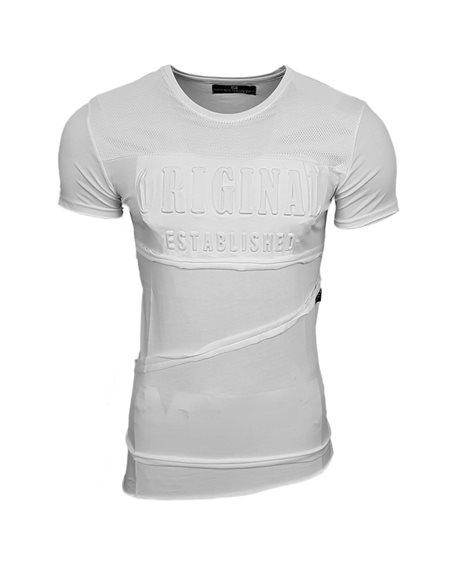 Subliminal Mode - Tee shirt homme asymetrique avec cordon de serrage col arrondi SB15124