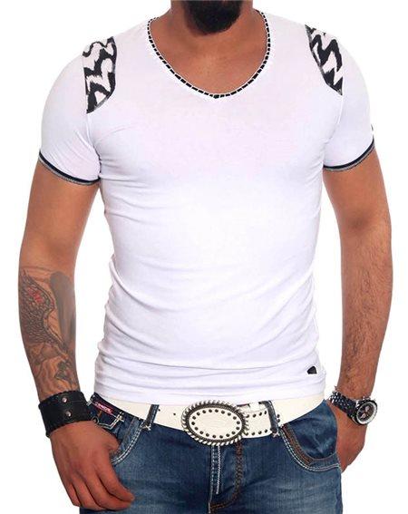 Subliminal Mode - Tee shirt homme uni zèbre col V SB6685